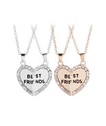 BFF Necklace Women Best friends Necklaces Pendants Chain Rhinestone Stat... - $9.82