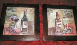 2 Tile Wall Decor Art Wine Glass Grapes Wooden Frame - $18.50
