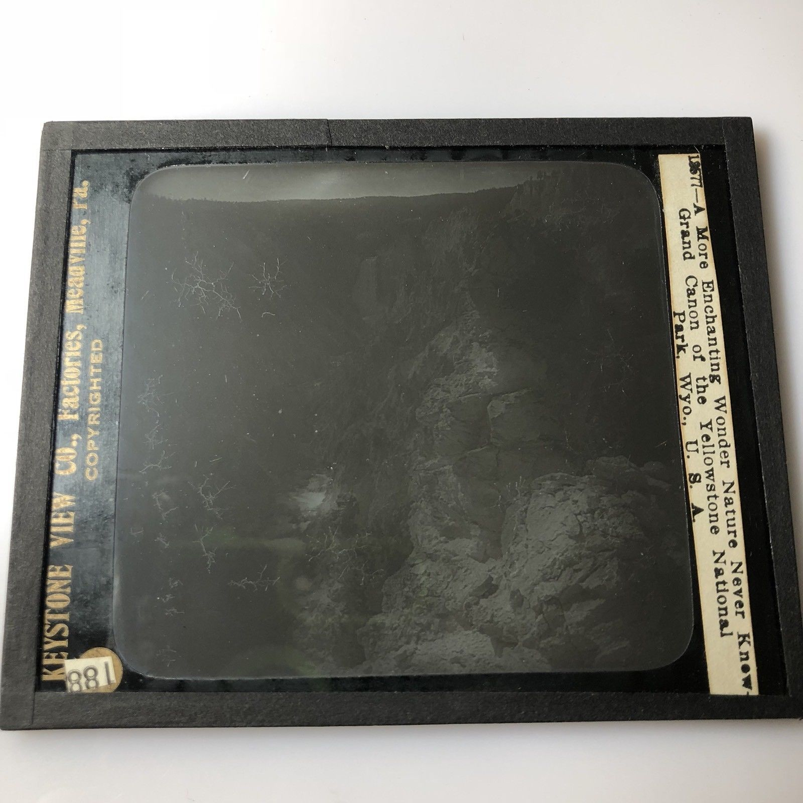 Vtg Magic Lantern Glass Slide Photo Keystone Falls In Yellowstone Park Wyoming