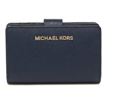 Michael Kors Jet Set Travel Bifold Zip Coin Wallet Leather Navy Gold NWT - $79.19