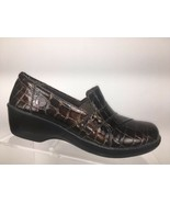 CLARKS COLLECTION Womens Loafers Brown Croc Print Slip On Shoes Sz 7 M - $24.77