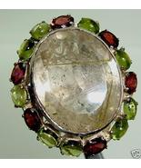STERLING GOLD RUTILATED QUARTZ GARNET PERIDOT RING S8.7 - $231.00