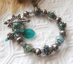 One of a Kind Handmade Lampwork .925 Sterling Labradorite Crystal Bracelet - $72.50