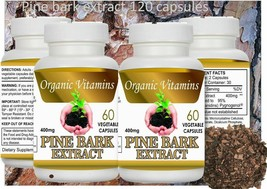 Natural 2 Bottles Pine Bark Extract Organic 120 Veggie Caps Vegetarian - $37.22