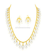 22K GOLD PEARL BEADS BEAD CHAIN NECKLACE FOR WOMEN JEWELRY GIFT CUSTOM S... - $2,493.41+