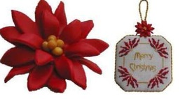 Poinsettia handmade clay embellishment cross stitch chart Acorn House De... - $5.00