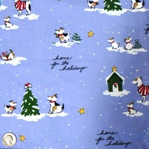 1 (One) Yard FLANNEL Christmas Dog Fabric, Home for the Holidays