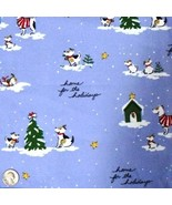 1 (One) Yard FLANNEL Christmas Dog Fabric, Home for the Holidays - $6.99