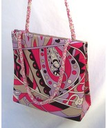Vtg Bright Pink Floral Paisley Beaded Chain Straps Purse GYPSY GLAM  - $38.77