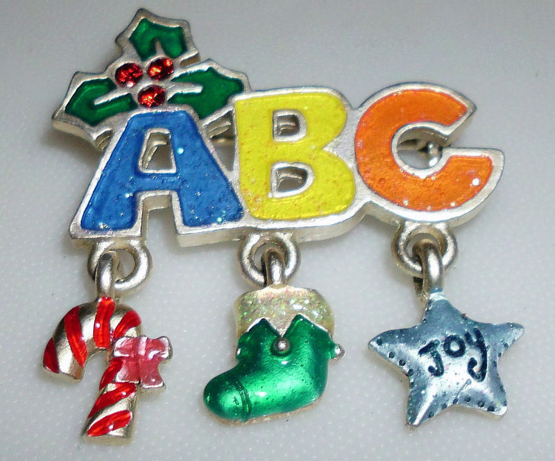 Primary image for Cute ABC Teacher Christmas Dangle Brooch Pin Signed AJMC