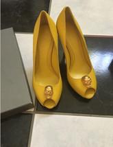 NIB 100% AUTH Mcqueen Yellow Leather Skull Ornament Peep Toe Pumps Sz 37.5 - $494.01