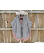 Vintage Wool Poncho Silver Fox Fur hood Norther... - $300.00