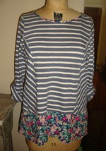 Anthropologie Striped high low  Floral trim 3/4 sleeve Shirt CUTE M  - $29.64