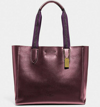 NWT Coach F39675 Metallic Derby Tote Wine Purple Pebble Leather $298 Retail - $159.99