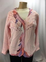 Storybook Knits Cardigan Sweater Pink with Sequins Phoenix Rising Size S... - $36.00