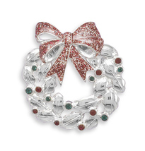Christmas Wreath Fashion Pin with Swarovski Crystal Accents - $27.99