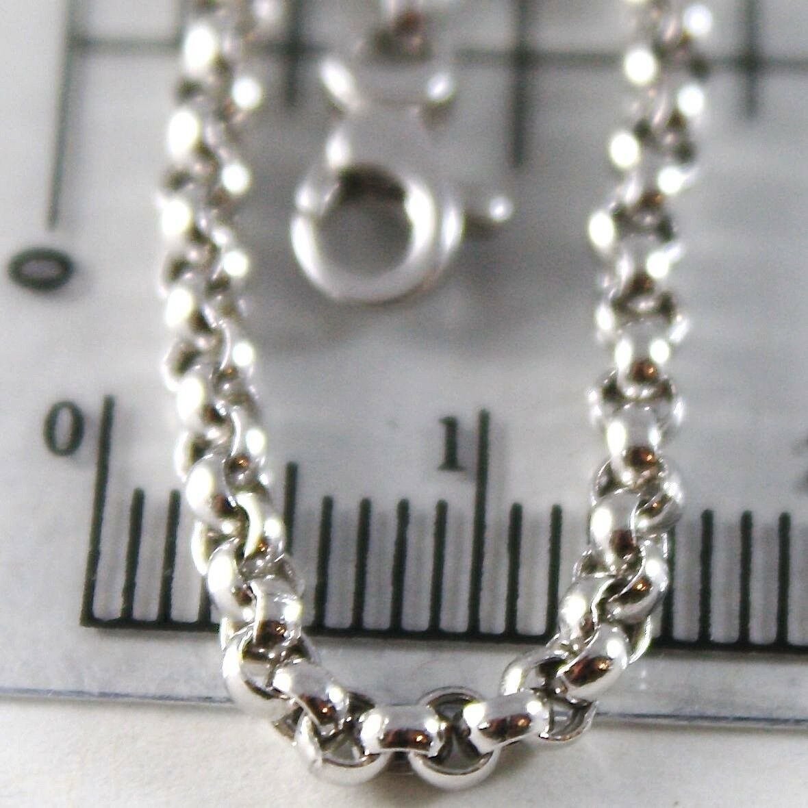 18K WHITE GOLD CHAIN 23.60 IN, DOME ROUND CIRCLE ROLO LINK 2.5 MM, MADE IN ITALY