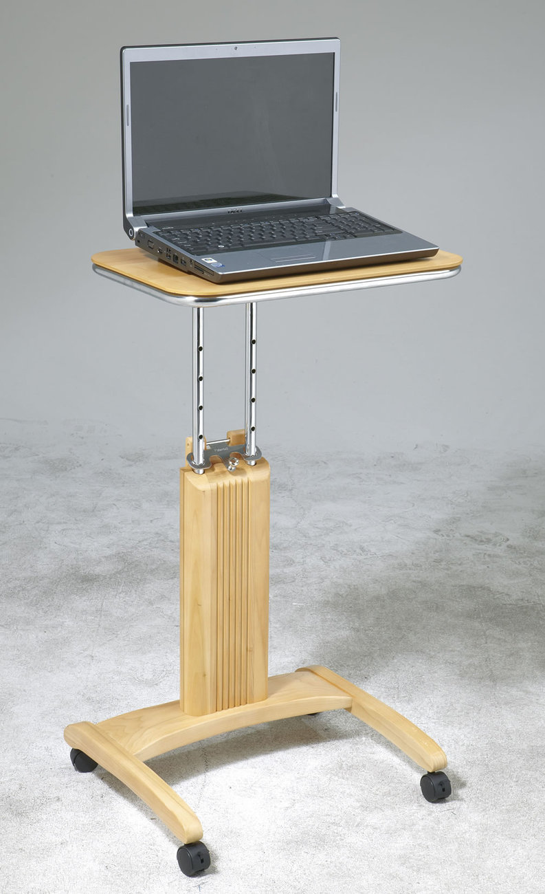 Maple finish wood computer laptop cart stand adj height