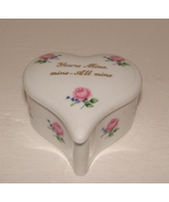 Vintage Lefton Heart Shape Trinket Box with Pink Roses - $6.90