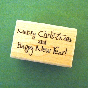 Merry Christmas / Happy New Year Mounted Rubber Stamp
