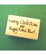 Merry Christmas / Happy New Year Mounted Rubber Stamp - $6.50