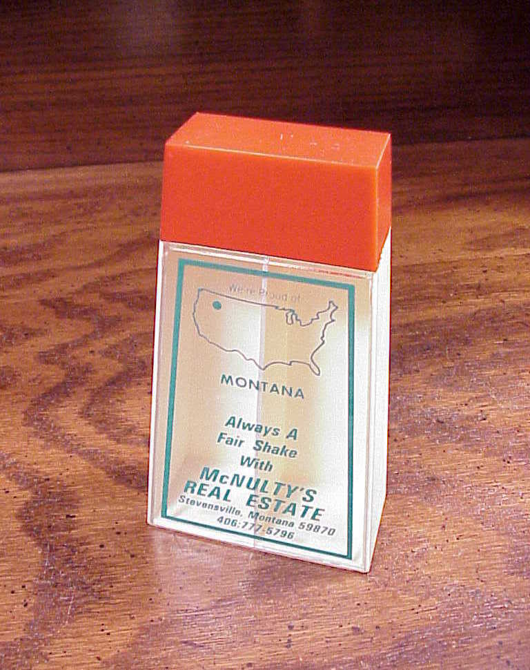 Duette McNulty's Real Estate, Stevensville, Montana Salt and Pepper Shaker, Box