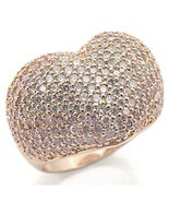 Rose Gold Puffy Heart Cocktail Pave Band Ring With Rose CZ, Size 6, 10 - $48.99