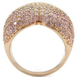 Rose Gold Puffy Heart Cocktail Pave Band Ring With Rose CZ, Size 6, 10