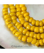 "Rare Antique Yellow Tribal Trade Glass Bead Strand 23.82"" Western-Papua ... - $38.75"