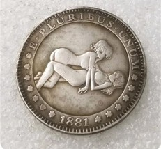 New Hobo Nickel 1881 USA Morgan Dollar Kinky Girl on Girl COIN Anime - $11.99