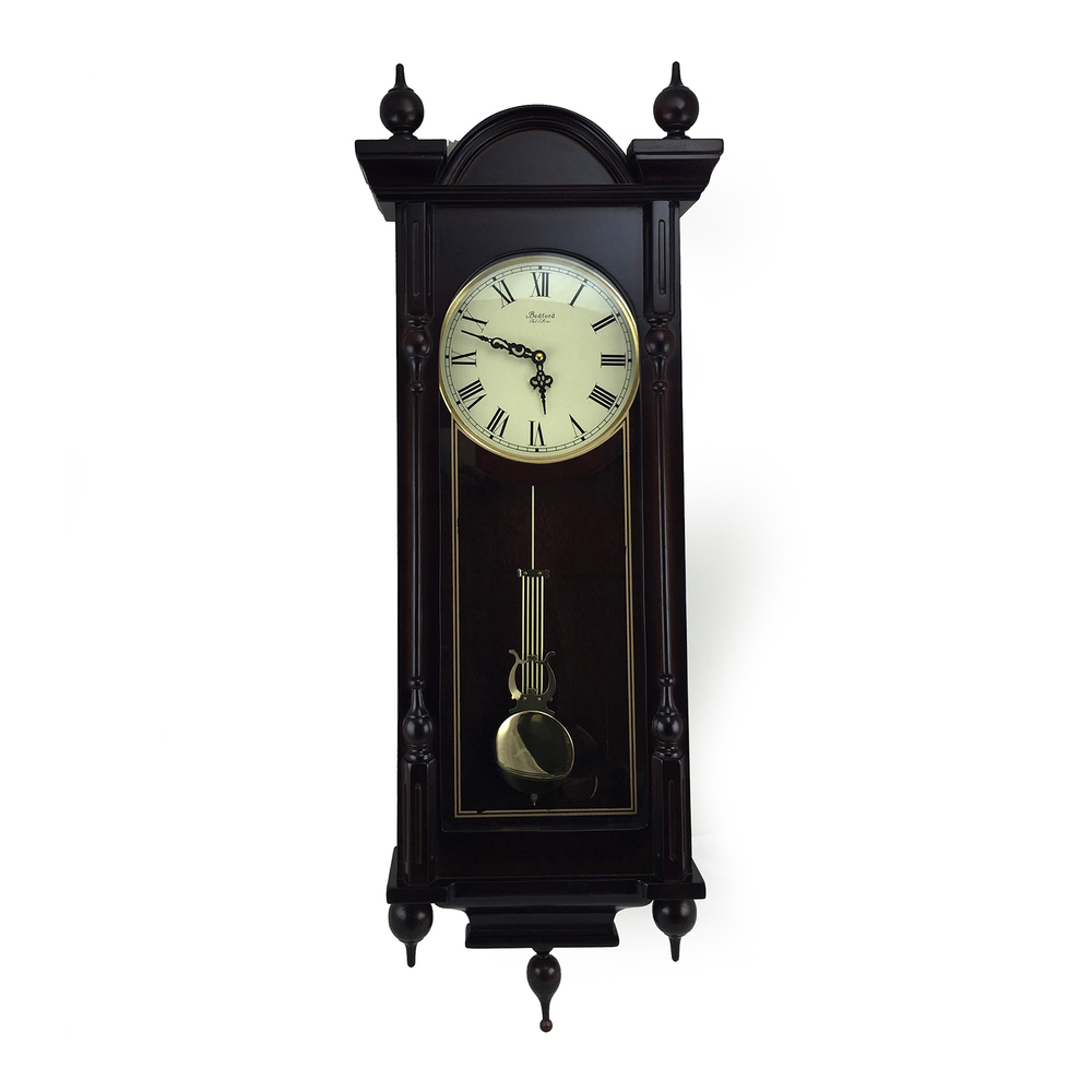 Bedford Clock Collection Grand 31 Inch Chiming Pendulum Wall Clock in Antique Ma
