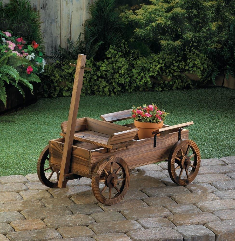 Garden Planter, Old World Wagon Decorative Rustic Patio Planter Outdoor Garden