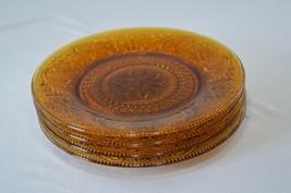 4 Indiana/Tiara Glass Early American Sandwich Glass Amber Luncheon Plate... - $19.80