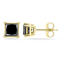 1.50 Carat Princess Black Simulate Diamond Stud Earrings Solid 14kt Yell... - $35.51
