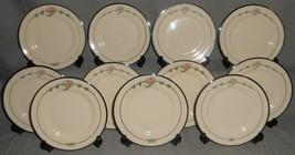 Set (11) Ransgil China JUNE ROSE PATTERN Dessert/B&B Plates PLATINUM TRIM - $69.29