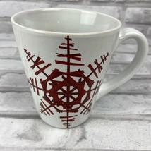 Starbucks Coffee Mug 2012 Red Snowflakes Ceramic Christmas Holiday Winter - $14.28