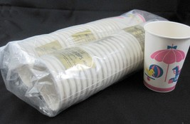 Baby Shower Lot of 48 Vintage 8 Oz  Paper Cups with Handles Unused New Old Stock - $24.74