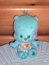 "CARE BEARS Turquoise Green Plush 7"" Wish Cub Bear with Heart Eyes in Tin... - $5.99"