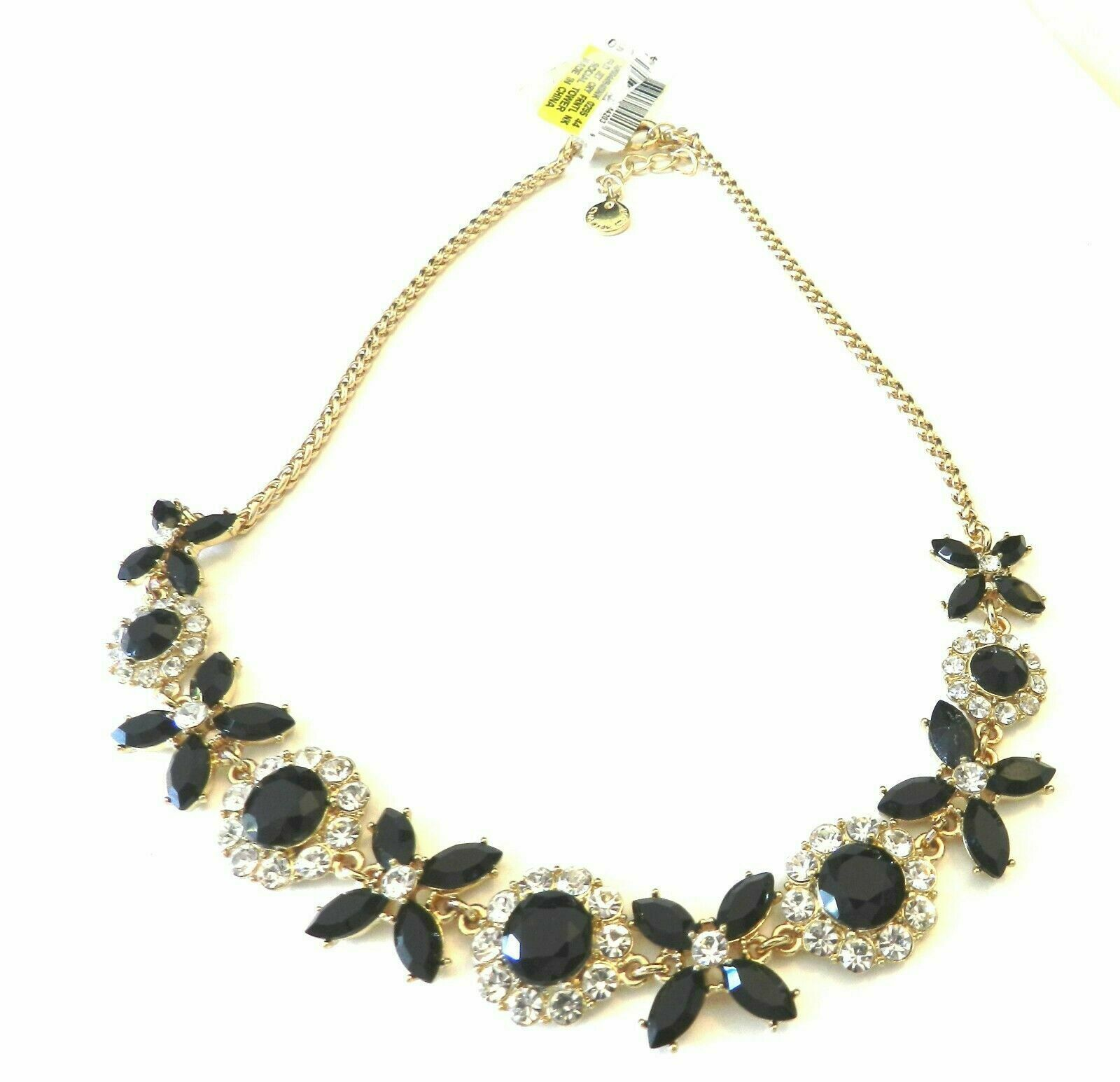 Charter Club Gold Tone Jet Black Crystal Flower Fan Frontal Necklace 17""