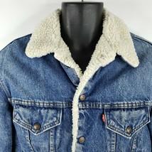 Vintage 80s Levis Blue Denim Sheepskin Trucker Jean Jacket Size 40R Made... - $128.65