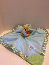 Disney Winnie The Pooh Lovey Security Blanket Plush Toy Blue W/Rainbow Hem 2007 - $9.49