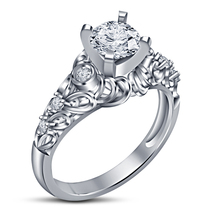 14k White Gold Plated 925 Sterling Silver Solitaire W/ Accents Ring Round Cut CZ - $73.26