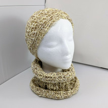 Handmade Crocheted Set 2 Hats And Matching Cowl Brown Yellow White  - $24.99