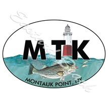 MTK - Montauk Point NY with Striper - Printed Vinyl Decal - Car Truck SUV RV - $5.99