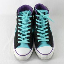 Converse All Star Leather High Top Shoes Mens 9 Womens 11 Black Blue Purple image 4