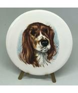 "Antique Vintage Victorian Spaniel Dog Porcelain Art With Stand 3.5""  - $18.00"