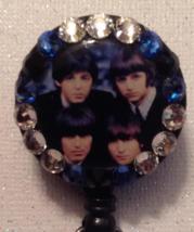 Beatles Four Faces Badge Id Reel Swarovski Crystals Birthday Black Handm... - $9.95