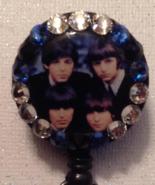 Beatles Four Faces Badge Id Reel Swarovski Crystals Birthday Black Handm... - $10.99