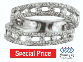 Solid 14K White Gold Real Natural Diamond Split Shank Ring Fine Jewelry ... - $900.99
