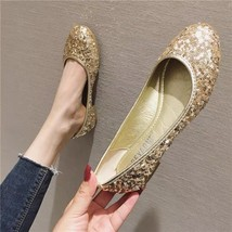 Sequin Golden Ballet Flats Slippers Shoes Evening flats Party Wedding Flats - $39.00